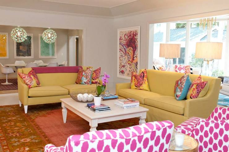 View Full Size Colorful Living Room Features