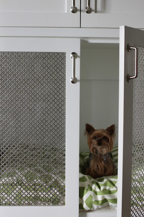 Built In Dog Crate Transitional Laundry Room Brown Eyed Fox