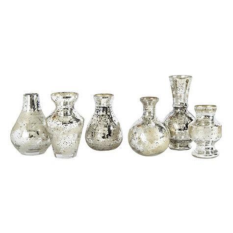 Set Of 6 Silver Mercury Bud Vases