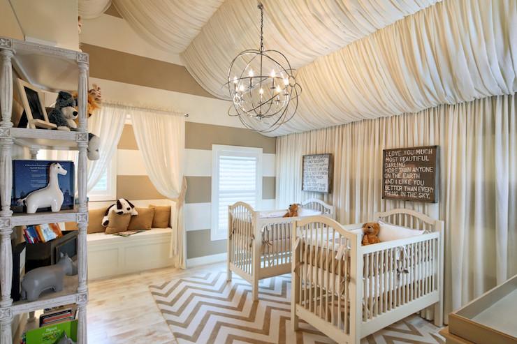 twin nursery ideas contemporary nursery benjamin moore alabaster opal. Black Bedroom Furniture Sets. Home Design Ideas