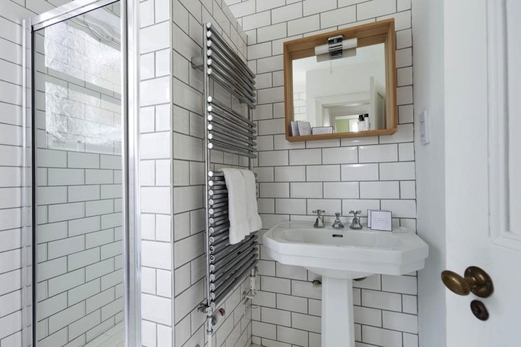 New Navy Walls Grey Grout Subway Tile  Bathroom  Pinterest