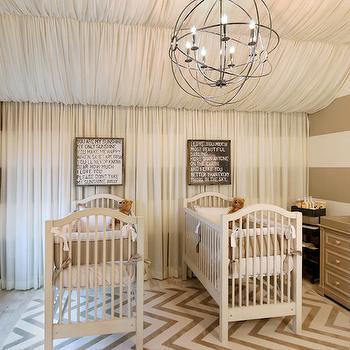 Striped Nursery, Contemporary, nursery, Benjamin Moore Balanced Beige, OPaL