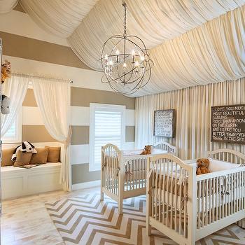 Twin Nursery Ideas, Contemporary, nursery, Benjamin Moore Alabaster, OPaL