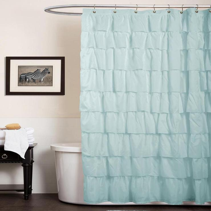 Lush Decor Ruffle Aqua Blue Shower Curtain