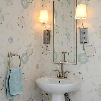 Modern Floral Wallpaper, Transitional, bathroom, Finnian's Moon Interiors