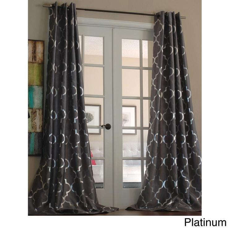 Silver Blue Metallic Basketweave Curtain