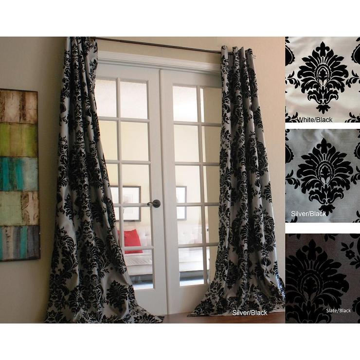 Faux Silk Grey and Black Grommet Top Curtain Panel