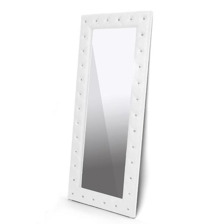 Stella Crystal Tufted Modern White Floor Mirror