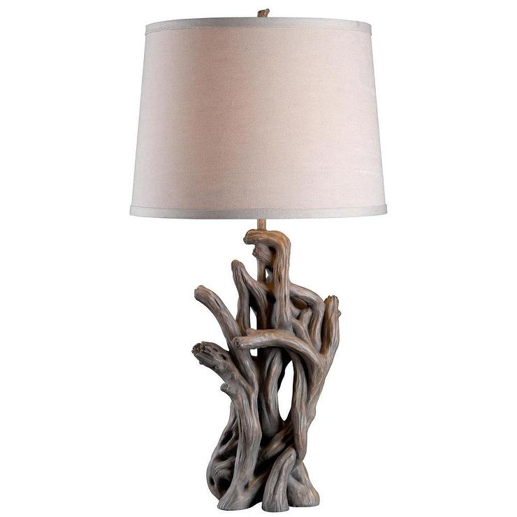 Oblong driftwood table lamp west elm alturas grey wood table lamp mozeypictures Image collections