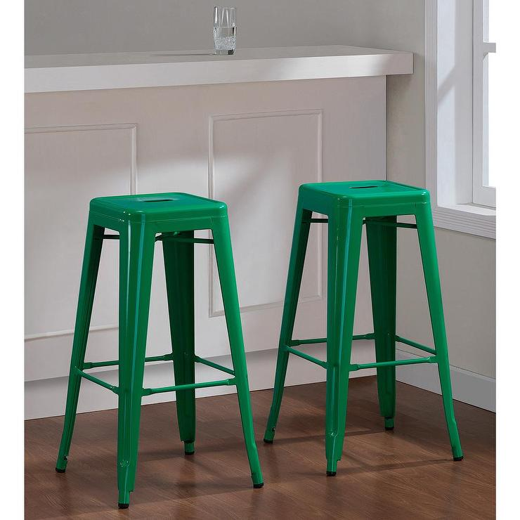Tabouret 30 Inch Emerald Metal Bar Stools 2