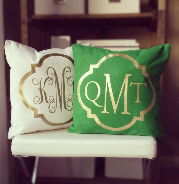 Monogram Throw Green And Cream Pillow Cover Awesome Monogrammed Throw Pillow Covers