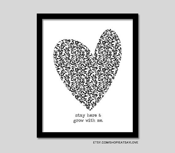 heart graphic grow with me black and white print