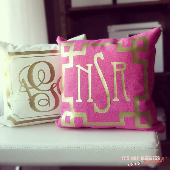 Monogram Throw Pink or Cream Pillow Cover