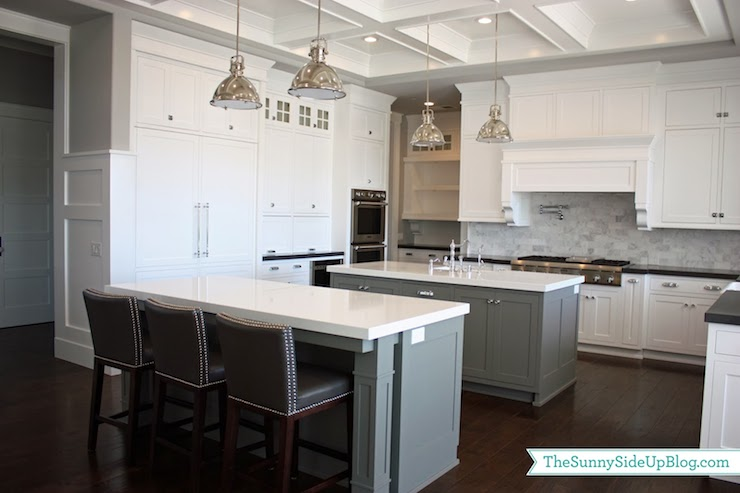 Gray KItchen Islands Transitional Kitchen Benjamin Moore - Light grey kitchen cabinets with black island