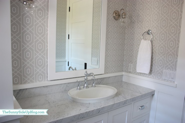 Gray geometric wallpaper transitional bathroom sunny for Gray bathroom wallpaper