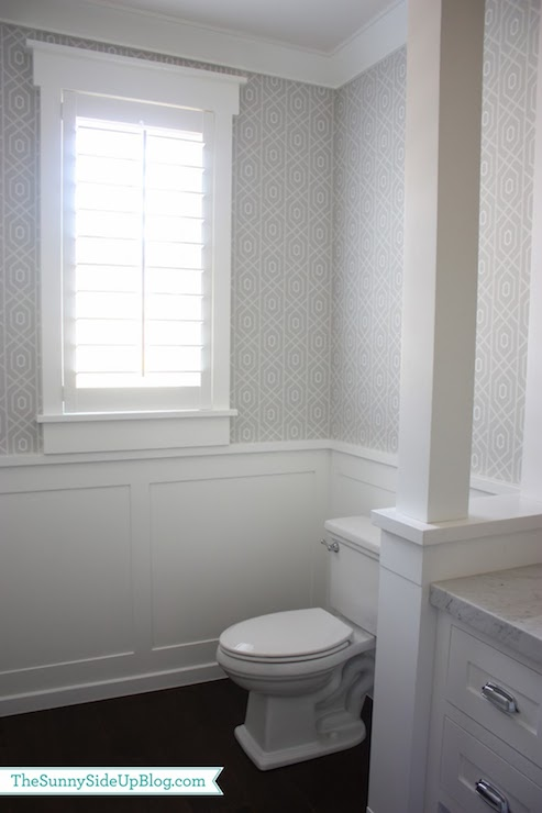 Powder room wainscoting transitional bathroom sunny for Gray bathroom wallpaper