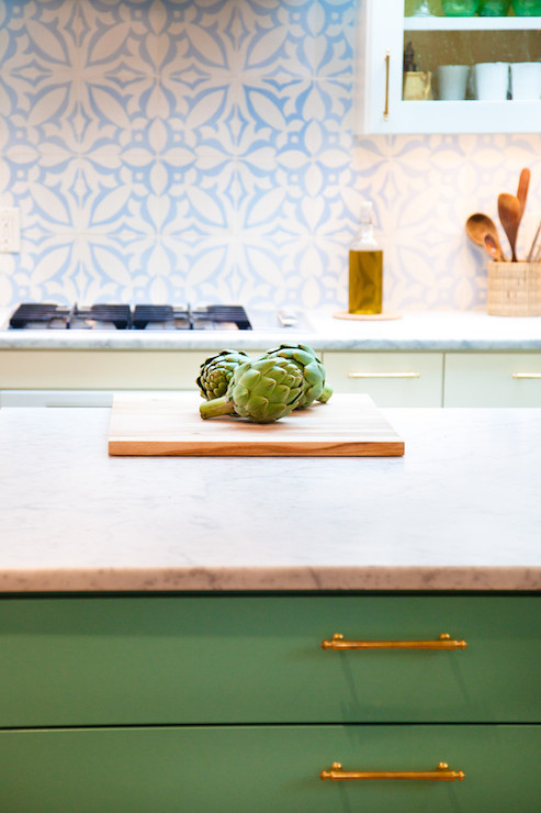 Green Kitchen Island Eclectic Kitchen