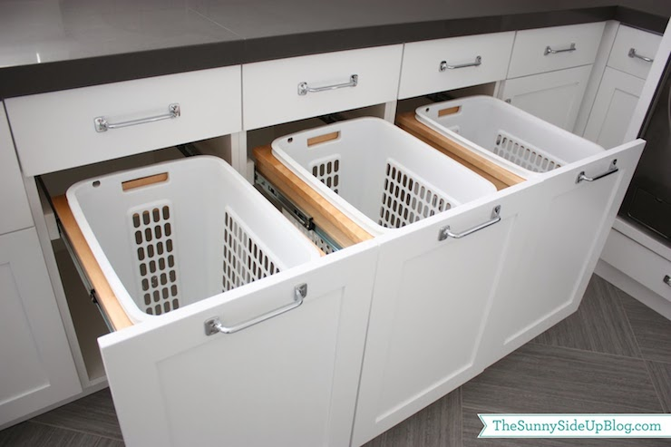 Built in hampers transitional laundry room sunny side up - Whites and darks laundry basket ...