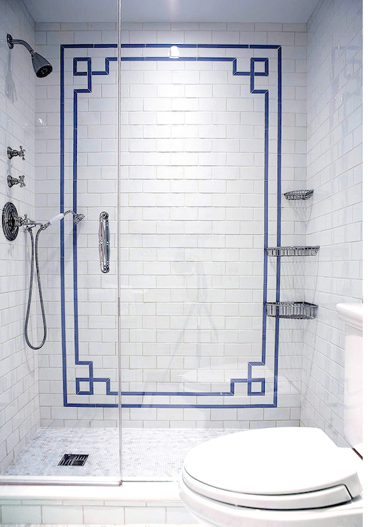 Greek key tiles bathroom the renovated home for Glass tile border bathroom ideas