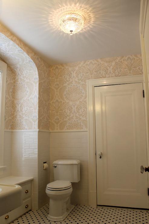 Gold Damask Wallpaper Transitional Bathroom Isk Design And