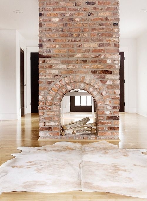 Red brick fireplace design ideas for 2 way fireplace