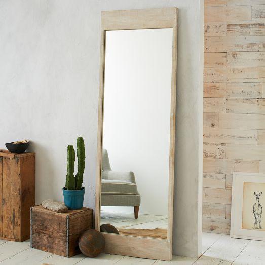 Etched Whitewash Chevron Floor Mirror