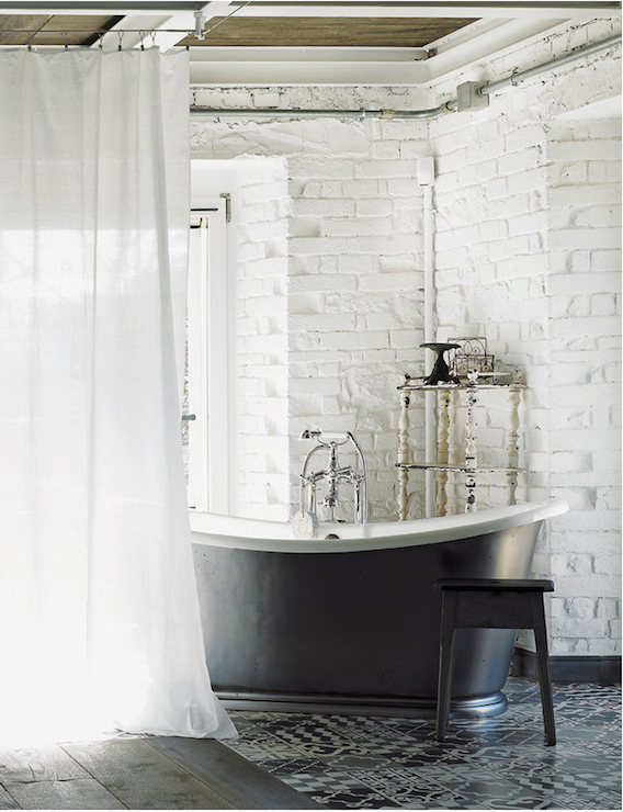 Exposed Brick Walls Eclectic Bathroom Elle Decor