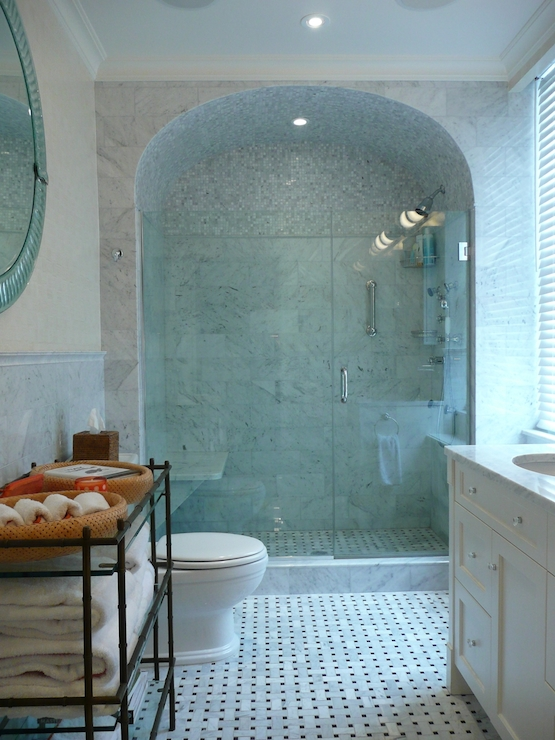 Barrel Ceiling Shower - Transitional - bathroom - The Renovated Home