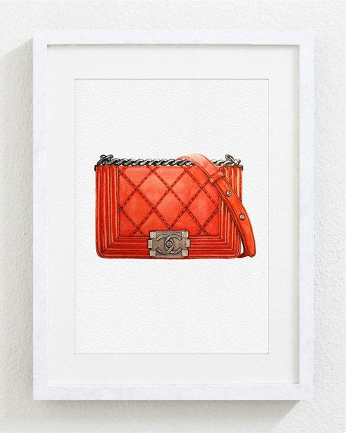 81453bf87da3 Orange Chanel Bag Watercolor Painting