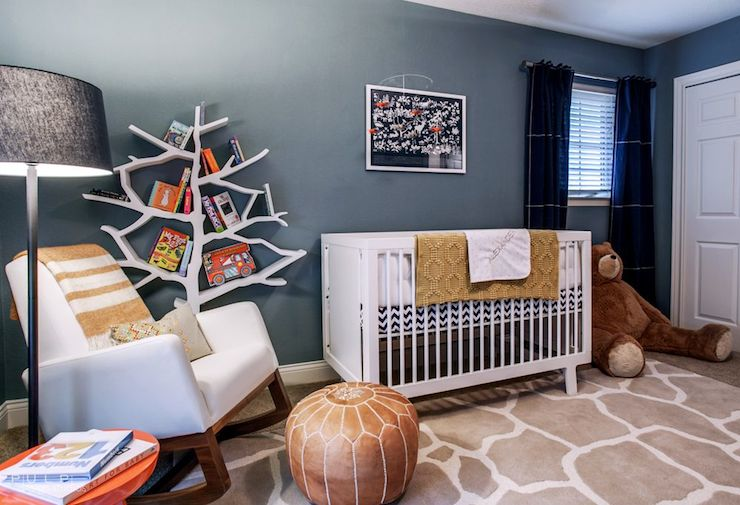nursery features blue walls accented with navy blue curtains land of nod blue canvas curtain panels as well as art over white crib oeuf sparrow crib - Oeuf Sparrow Crib