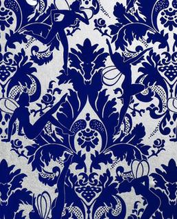 Forest Muses Blue And White Wallpaper