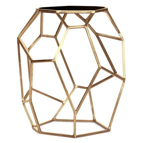 Matrix Brass Side Table - Black and brass side table