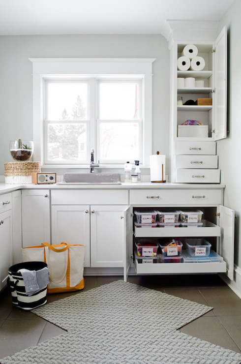 Aloof Gray Transitional Laundry Room Sherwin