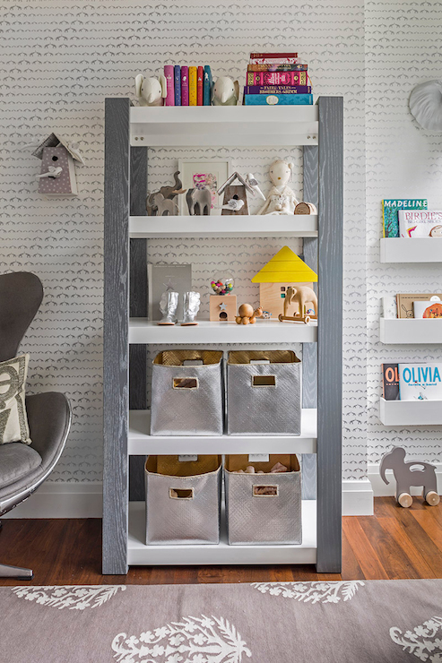 Fantastic Boys Nursery Features White And Gray Wallpaper Depicting Baby Elephants With Entwined Trunks Framing Bookshelf Ducduc Austin