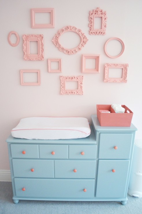 Pink And Aqua Blue Nursery With Changing Table Painted Blue, Sherwin  Williams Interesting Aqua, Adorned With Pink Hardware Below Walls Painted  Pink, ...