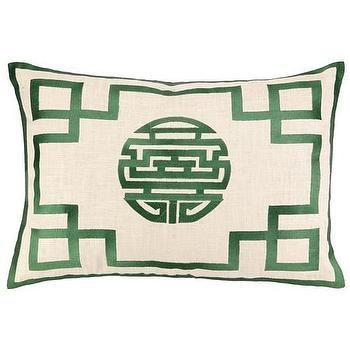 DL Rhein Double Happiness Fern Embroidered Pillow I Zinc Door
