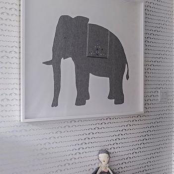 Baby Elephant Walk Wallpaper, Contemporary, nursery, Sissy and Marley