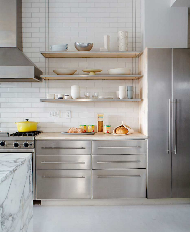 Modern Kitchen Shelf Design: Stainless Steel Backsplash With Shelf Design Ideas