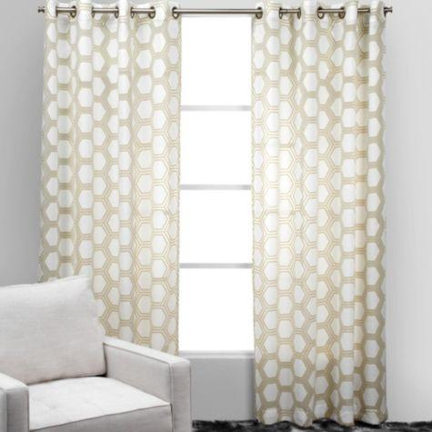 gray trellis pattern sheer white drape