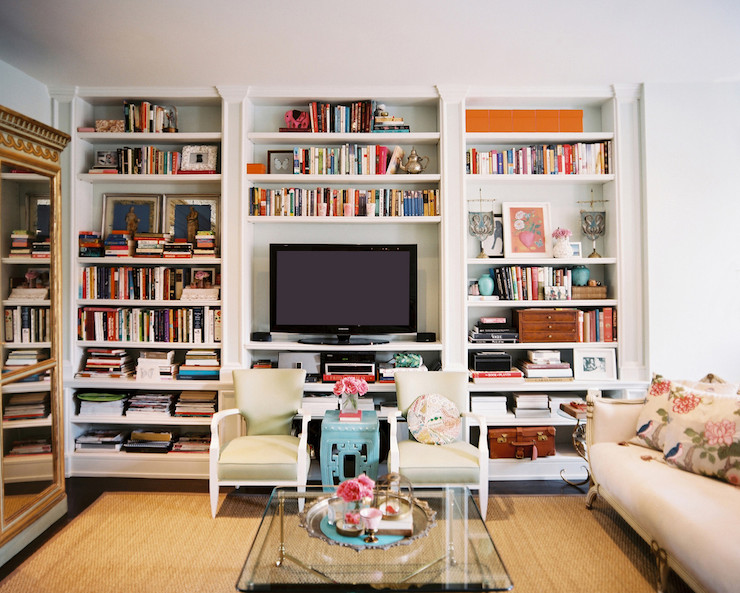 Built in bookshelves eclectic living room lonny magazine for Shelving ideas for living room walls