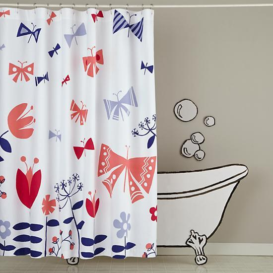 Wildflower Pink And Blue Shower Curtain