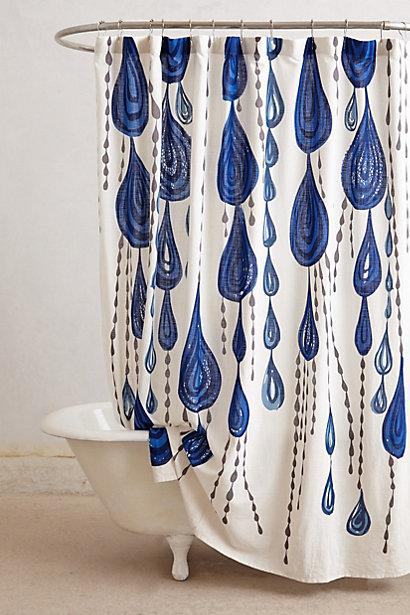 Jardin Des Plantes Blue And White Shower Curtain