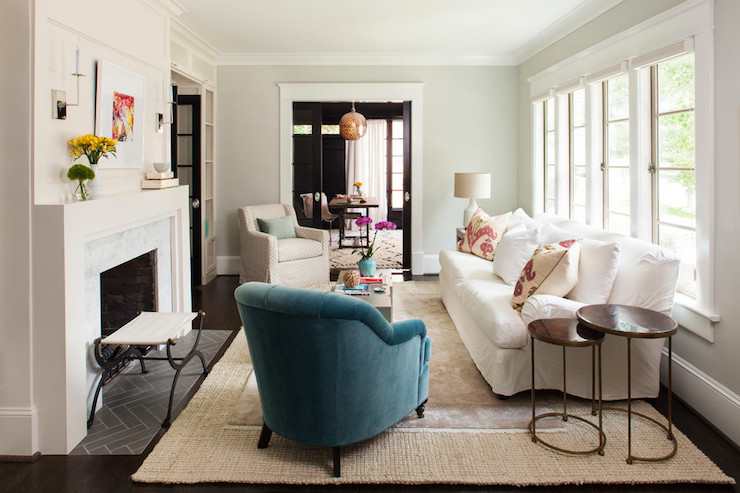 Orange Throw Transitional Living Room Benjamin Moore Stonington Gray Martha O 39 Hara Interiors