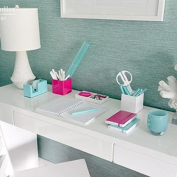 Turquoise Grasscloth, Contemporary, den/library/office, Mabley Handler