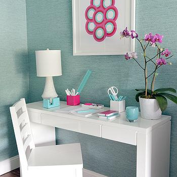 Turquoise Blue Grasscloth, Contemporary, den/library/office, Mabley Handler