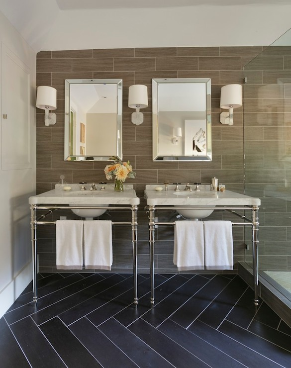 Wood Grain Tiles Contemporary Bathroom Ann Lowengart