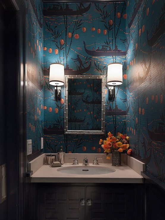 Wallpaper for powder rooms asian bathroom ann for Black and teal bathroom ideas