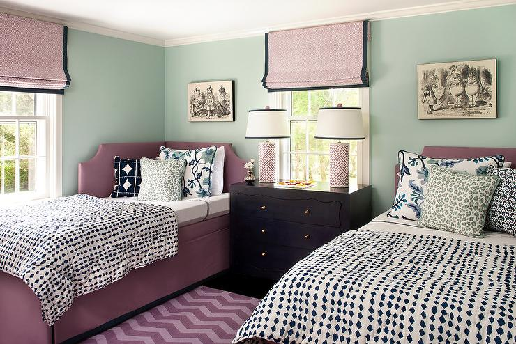 Beautiful bedroom with mauve daybed layered with a black and white diamond  patterned duvet alongside a blue botanical pillow  pale blue leopard print  pillow  Mauve Design Ideas. Mauve Bedroom. Home Design Ideas