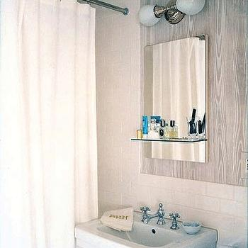 Faux Bois Wallpaper, Contemporary, bathroom, Annsley Interiors