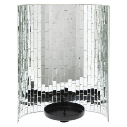 Threshold Silver Glass Mosaic Pillar Candle Holder